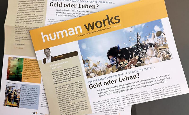 Human Works Ausgabe 2-2019, Arbeitszeitverkürzung, Geld oder Leben